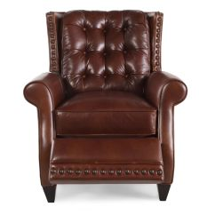 Bernhardt Brown Leather Club Chair Office Wheel Pierce Recliner Mathis Brothers Furniture