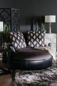 Ashley Kumasi Smoke Oversized Swivel Accent Chair