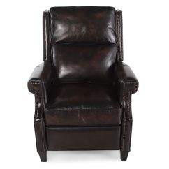 Bernhardt Brown Leather Club Chair Adjustable Stool Barrett Recliner Mathis Brothers