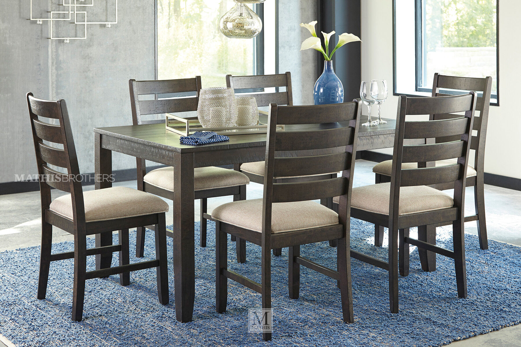 6 piece kitchen table sets chair seat cushions ashley rokane brown rectangle seven-piece dining set ...