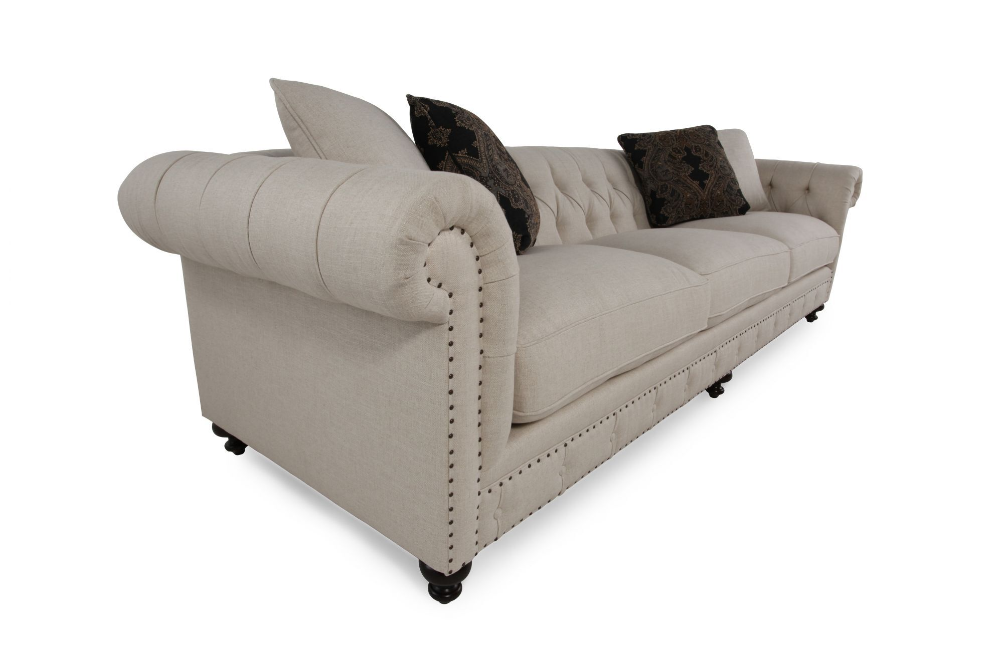 bernhardt riviera large sofa tufted black velvet mathis brothers furniture