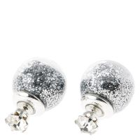 Crystal and Glitter Ball Front and Back Stud Earrings ...
