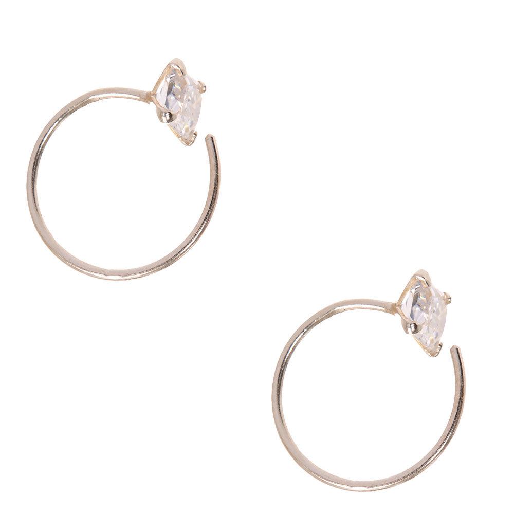 Sterling Silver Cubic Zirconia Open Hoop Earrings