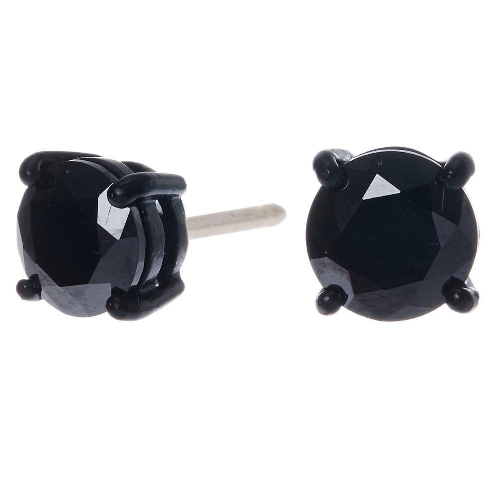 8MM Jet Black Cubic Zirconia Stud Earrings