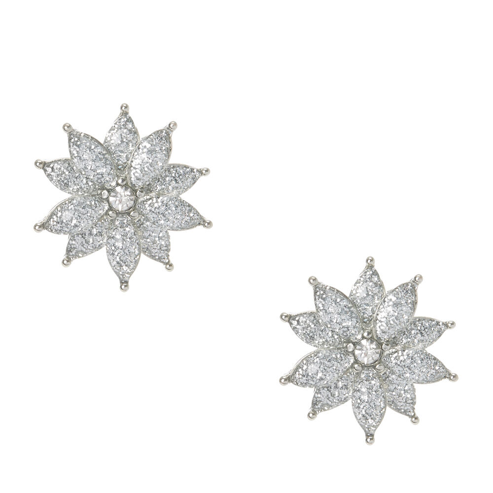 Silver Glitter Flower Clip
