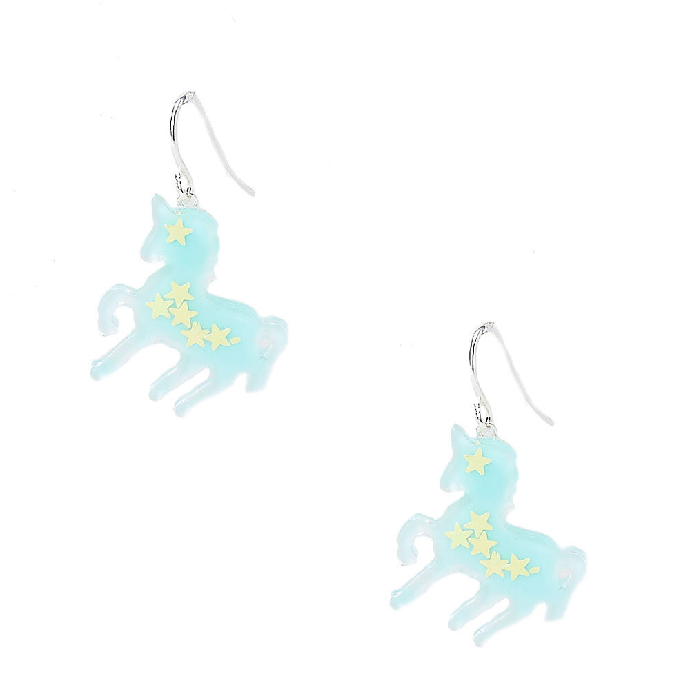Glow In The Dark Unicorn Drop Earrings