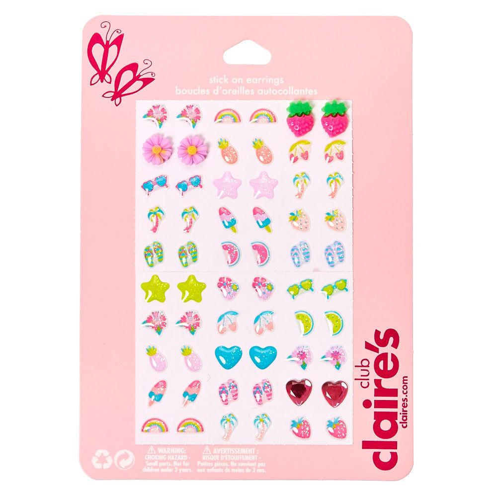 Kids Summer Stick On Earrings Pack