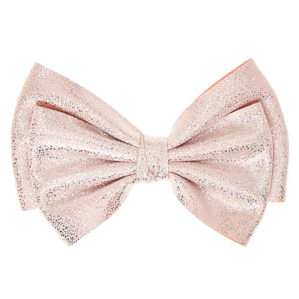 soft pink glitter hair bow clip