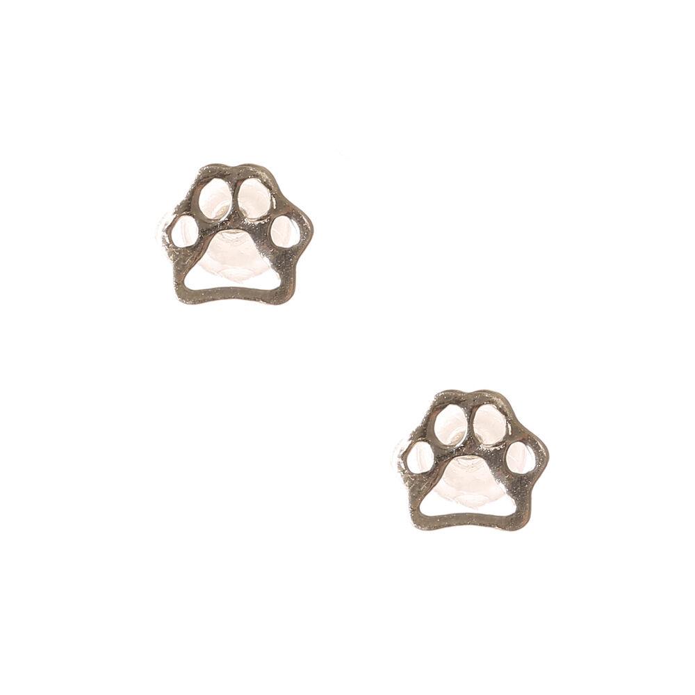 Sterling Silver Paw Print Outline Stud Earrings