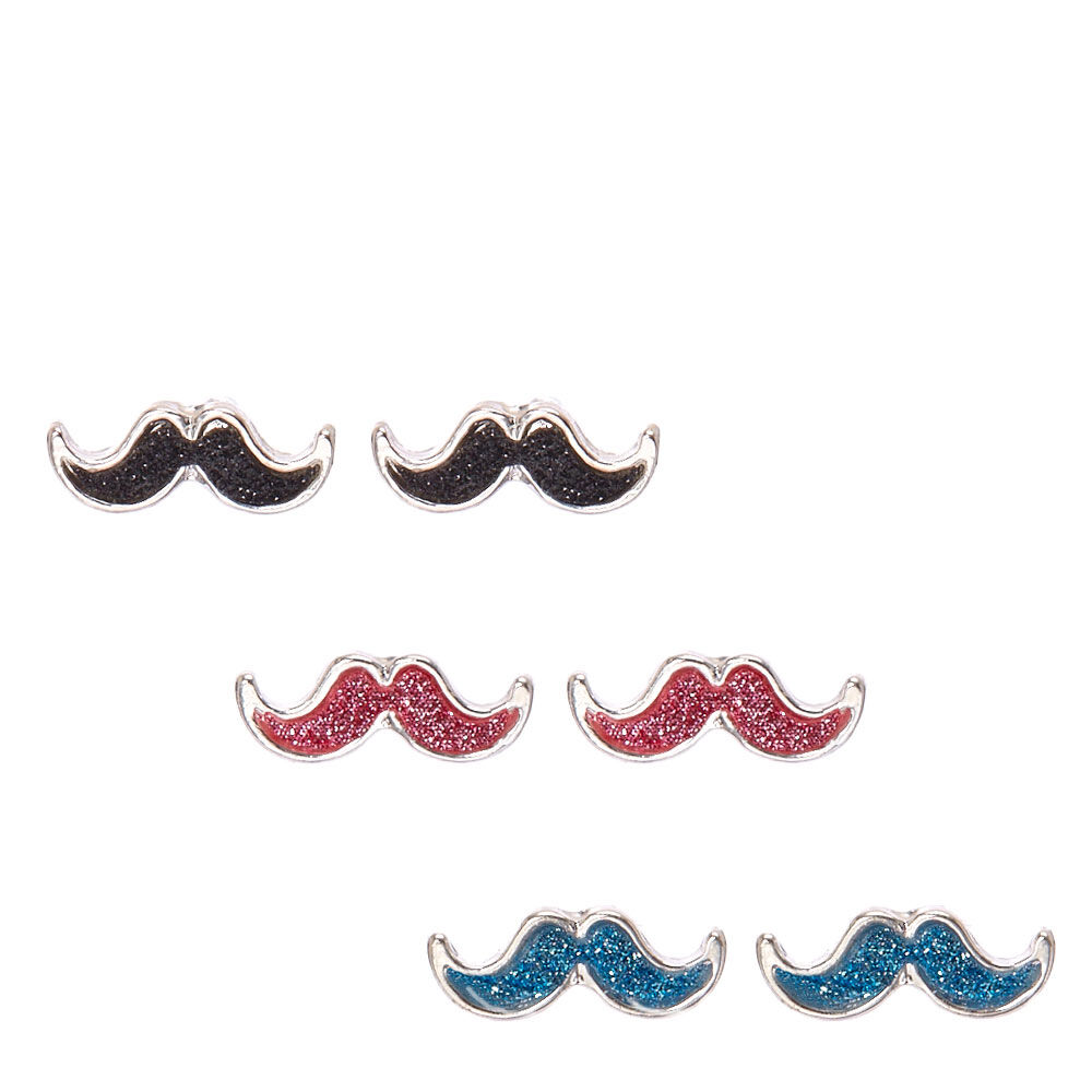 Glitter Mustache Stud Earrings
