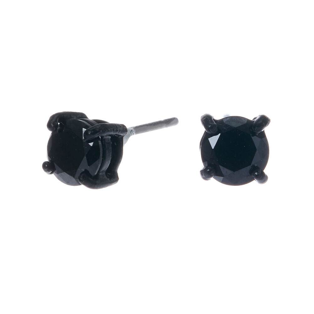 5MM Round Black Cubic Zirconia Stud Earrings
