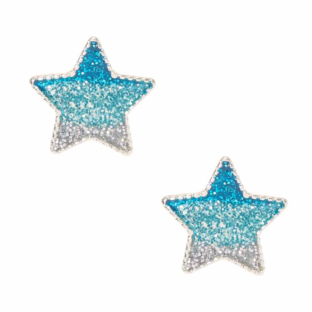 Blue Glitter Ombre Star Stud Earrings