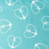 Turquoise with White Heart Anchors Duvet Cover and Pillow ...