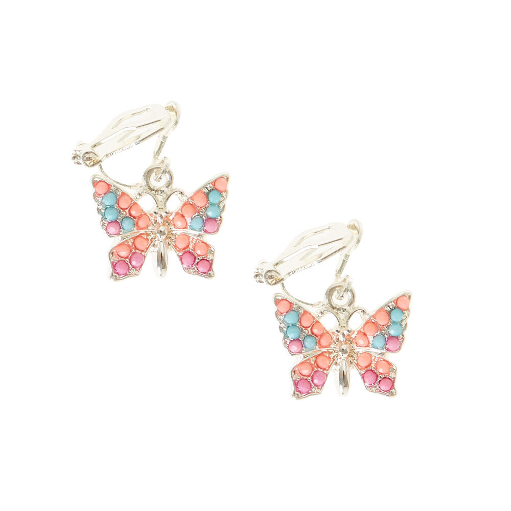 Pastel Butterfly Clip On Earrings