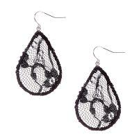 Black Lace Teardrop Drop Earrings | Claire's CA