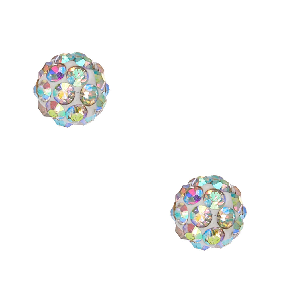 Sterling Silver Iridescent Fireball Stud Earrings