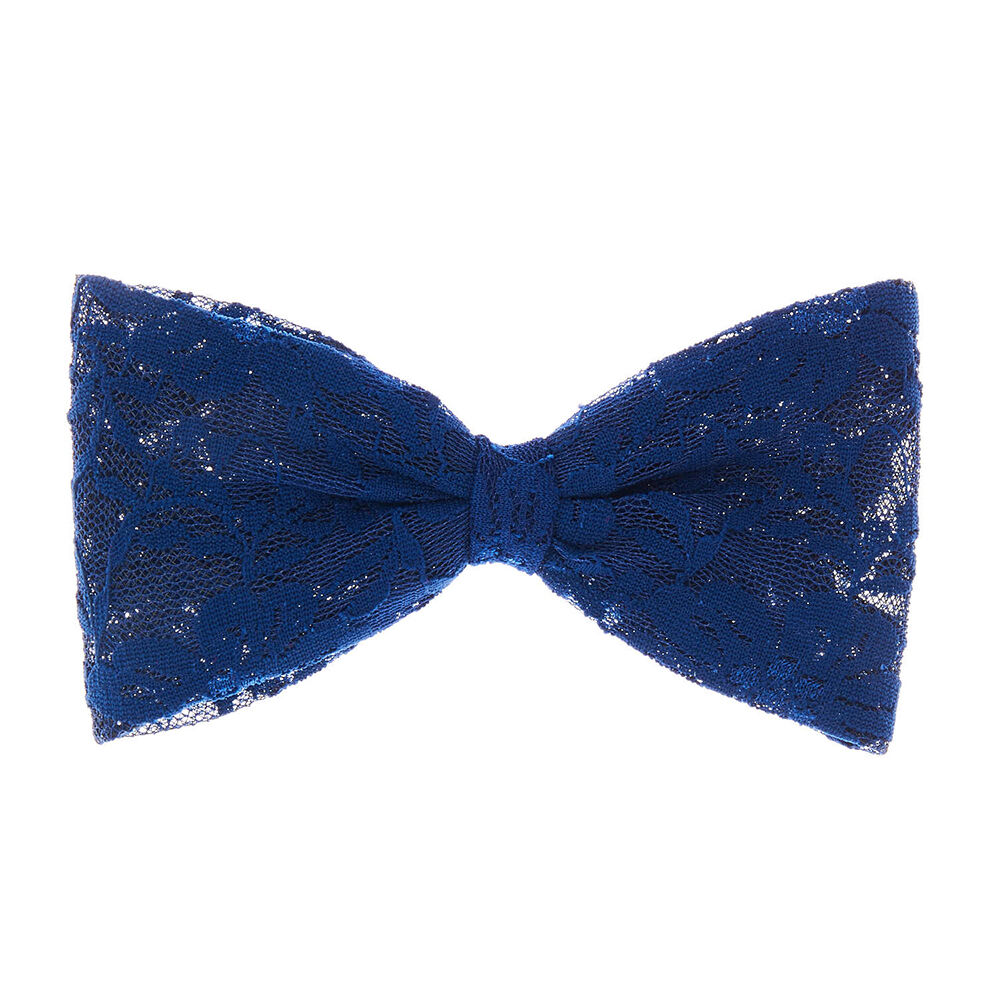 large navy blue lace hair bow