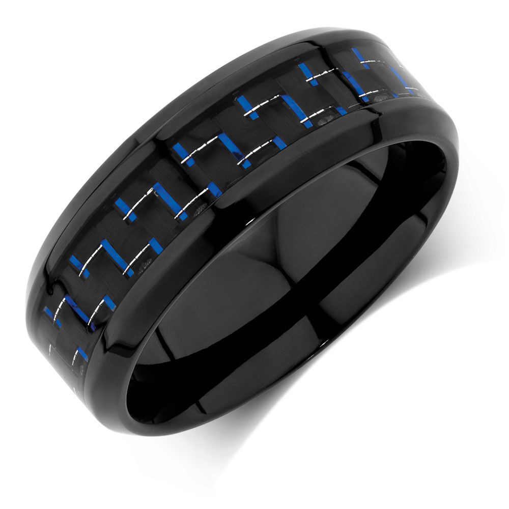 Mens Ring With Black Amp Blue Carbon Fibre In Stainless Steel