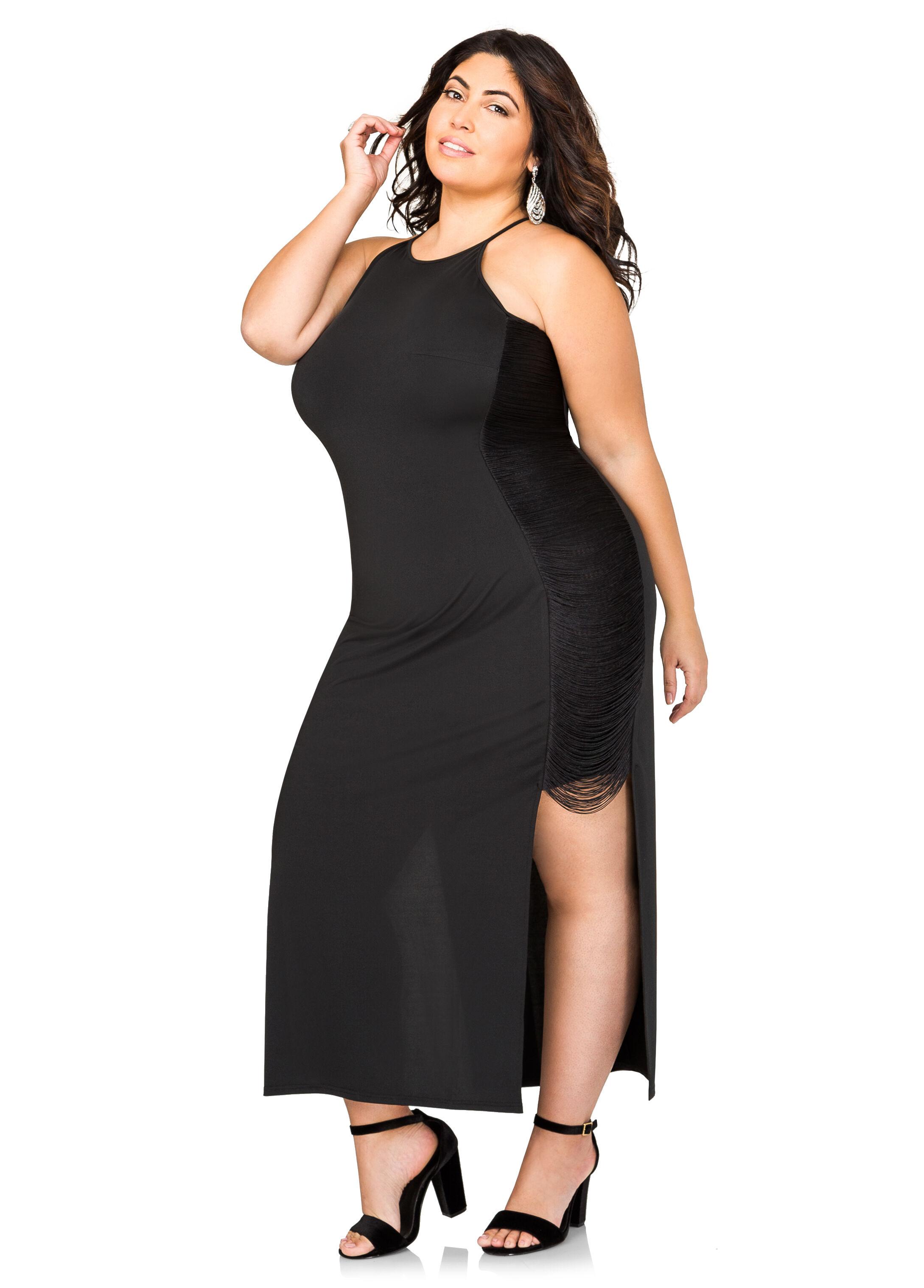 Fringe Side Halter Maxi Dress- Size Dresses