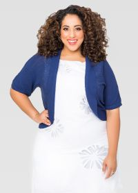 Shawl Collar Shrug-Plus Size Cardigan-Ashley Stewart-042 ...