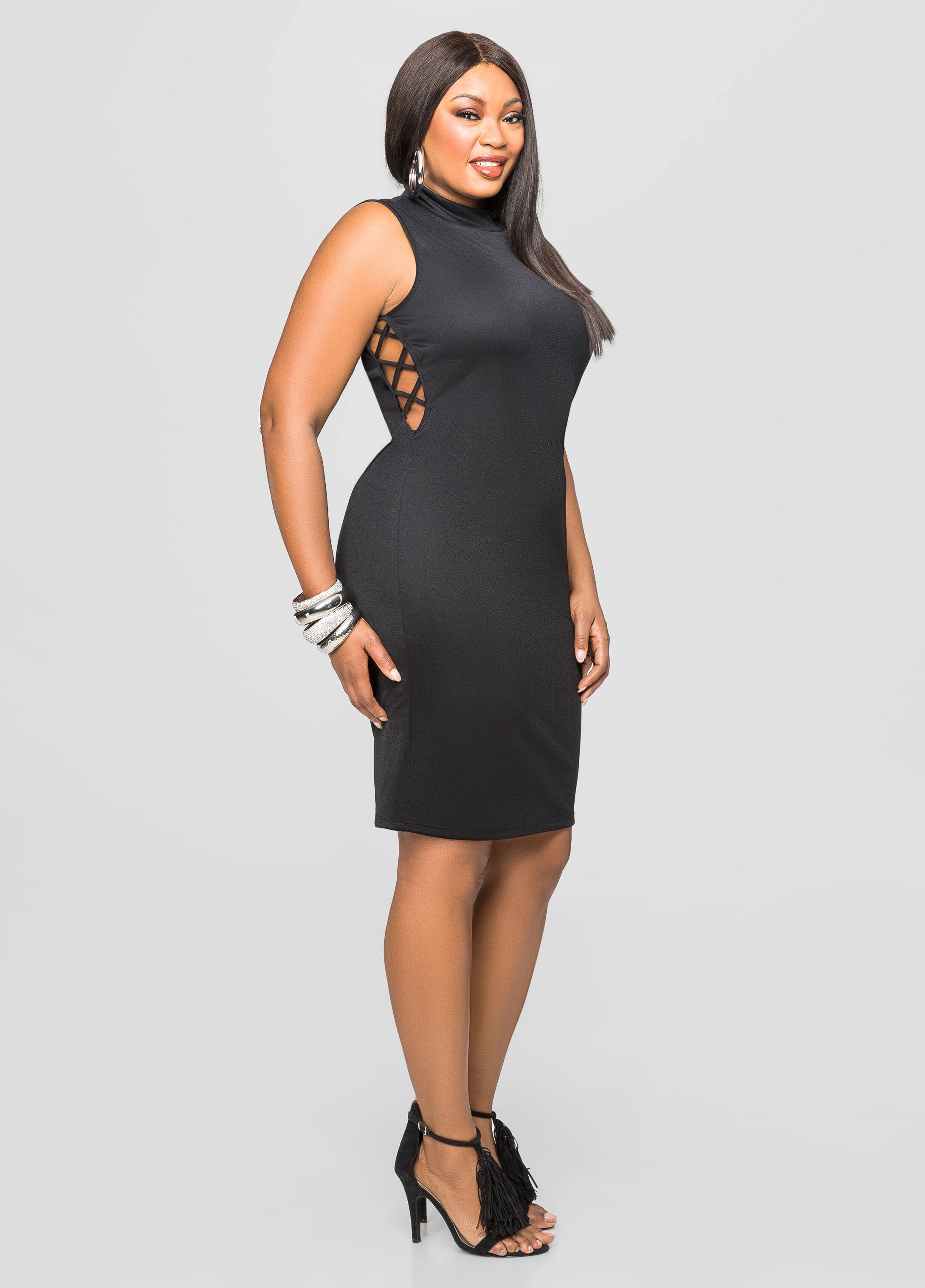 Open Side Mock Neck Dress- Size Dresses-ashley Stewart