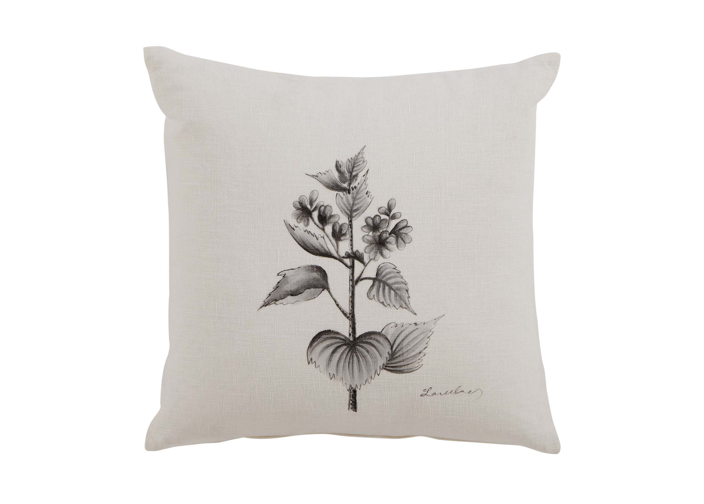 Black and White Botanical HandPainted Pillow  Pillows