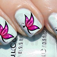 AWS Juego Water Decals mariposa rosa Stickers Uñas Nail Art pegatinas Transfer Decoración Reconstrucción Nail Art Pink Butterflys Decorations