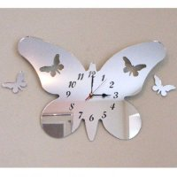 Reloj De Espejo De Acrílico De Plata, En La Forma De Una Mariposa Con Dos Mariposas Flotantes - 30cm x 21cm con Dos Mariposas