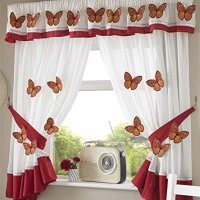 Mariposas cortinas plisadas de cocina Cortinas y abrazaderas, blanco/naranja, 46 x 42 pulgadas, poliéster, blanco y naranja, 1,68 x 1,37 m (66 x 54 pulgadas)