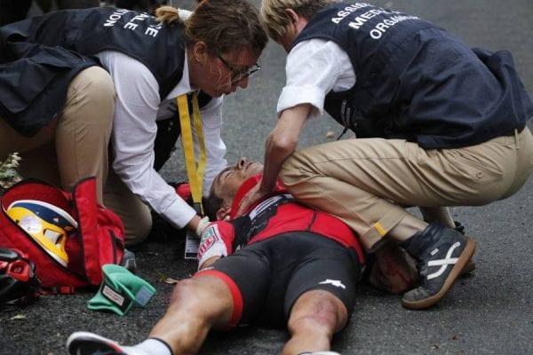 Richie Porte después de su caída en el Tour