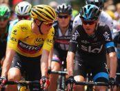 Rohan Dennis hablando con Froome en el Tour de Francia 2015