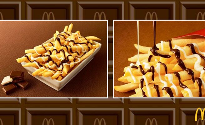 Papas fritas con dos chocolate