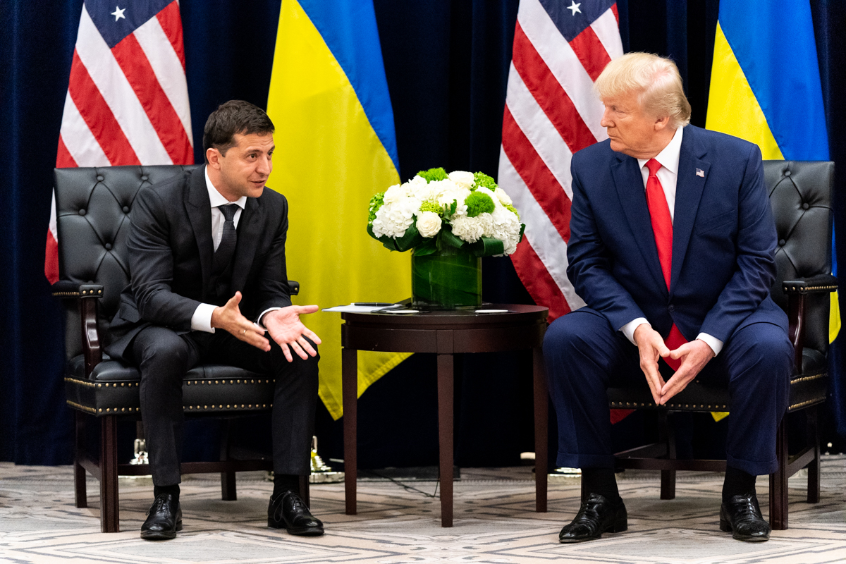 President Donald J. Trump participates in a bilateral meeting with Ukraine President Volodymyr Zalensky Wednesday, Sept. 25, 2019, at the InterContinental New York Barclay in New York City. (Official White House Photo by Shealah Craighead) [Public Domain]