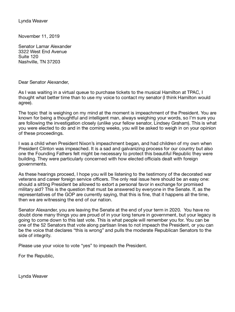 Letter to Senator Lamar Alexander, from a Constituent