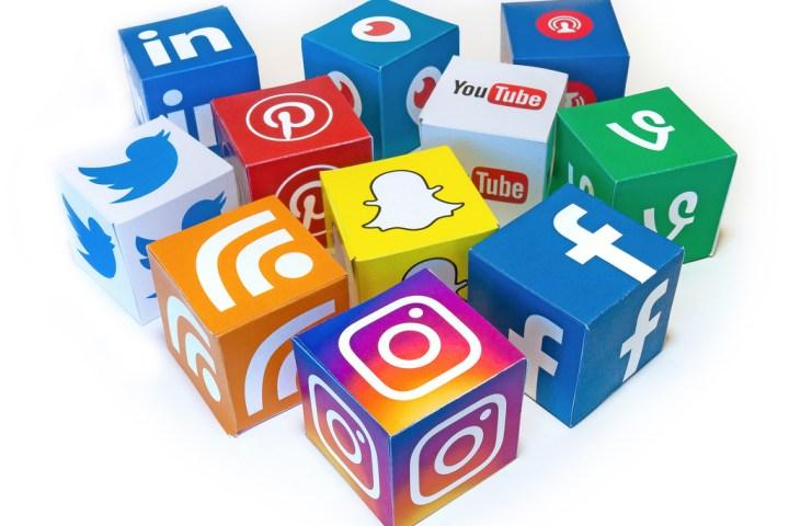 Three dimensional blocks with social media icons.