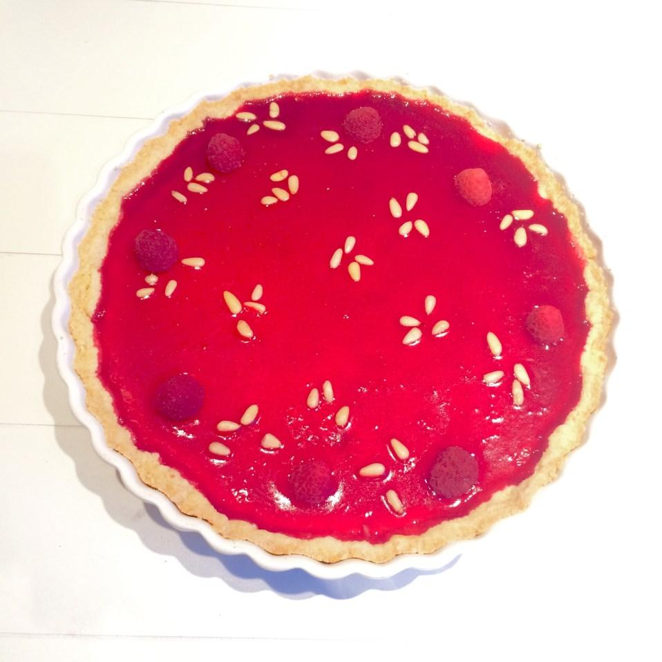 frambozen cheesecake met pijnboompitten