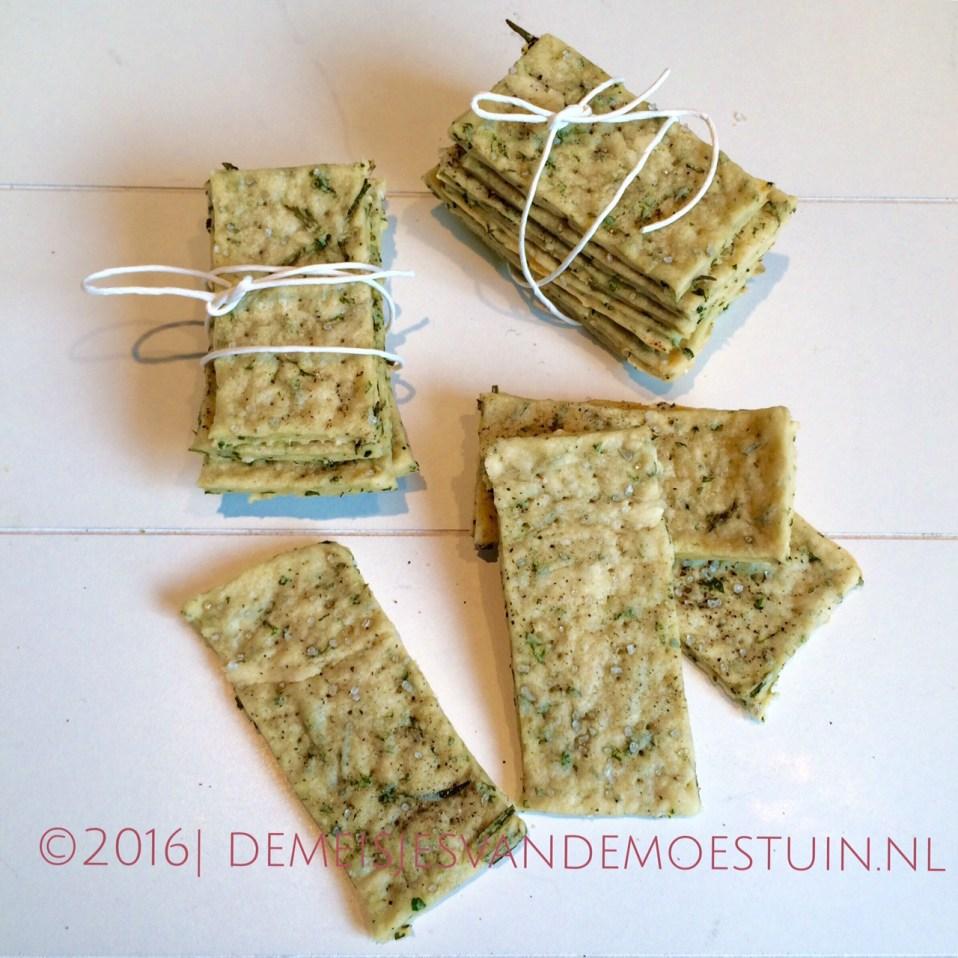 makkelijk recept voor crackers met groene kruiden