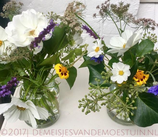 bloemen in de moestuin