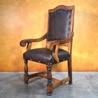 Spanish Leather Chair, Silla Casa Mexicana with Arms ...