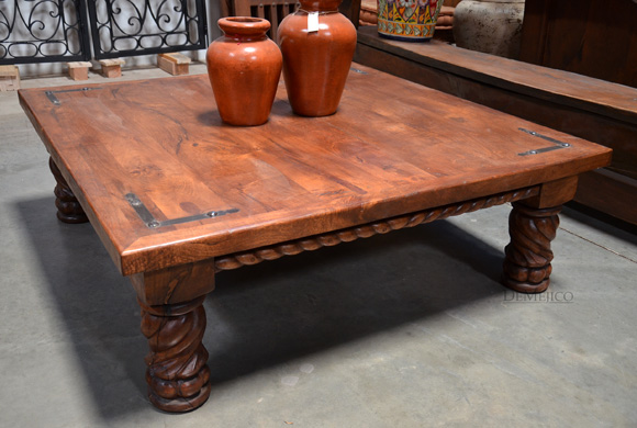 Indonesia Coffee Table Cuadrada, Carved Coffee Table