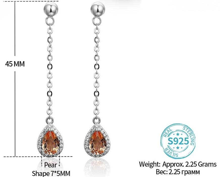 Zultanite Sterling Silver Earring COLOR CHANGE stone S925 Women's Earring Turkish Created Diaspore Pear Cut Birthday Gifts