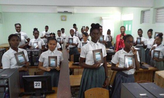 School children with Black Water People