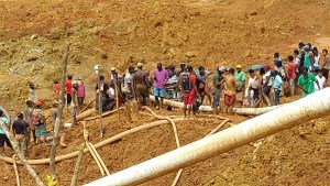 FLASH BACK: Rescuers at Mowasi/Pepper Creek where 11 miners were buried alive in May, 2015.