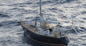 The yacht, Allegro, adrift about 200 miles off Guyana's coast. (Guyana Chronicle photo).