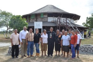 Members of the Makushi Research Unit pose with Chairman,  CGX Energy Inc Board of Directors,  Dr Suresh Narine (second left) and Minister of Indigenous Peoples' Affairs Sydney Allicock. (GINA photo)