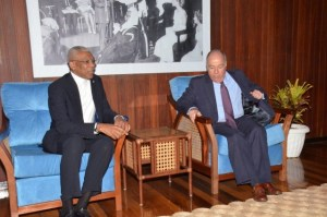 President David Granger and Brazil's Minister of External Relations, Mauro Vieria in bilateral talks Wednesday during the latter's one-day visit to Guyana.