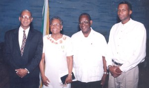 Former Anglican Bishop of Guyana, Randoplph George (second from right). Other in picture are (from left to right), his son, George, Bishop George's wife, Sheila, and their eldest son, Christopher.