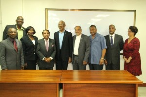 Left to right: Foreign Affairs Minister, Carl Greenidge; Ambassador Dr. Kenrick Hunte, Honorary Consul to New York Barbara Atherly, Ambassador Dr. Shamir Ally, President David Granger, Ambassador John 'Deep' Forde, Ambassador Michael Ten-Pow, Ambassador David Hales and Director General of the Ministry of Foreign Affairs Ambassador Audrey Jardine-Waddell.