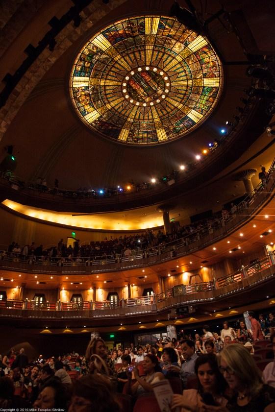 The chandelier at the theater at the Palacio de Bellas Artes