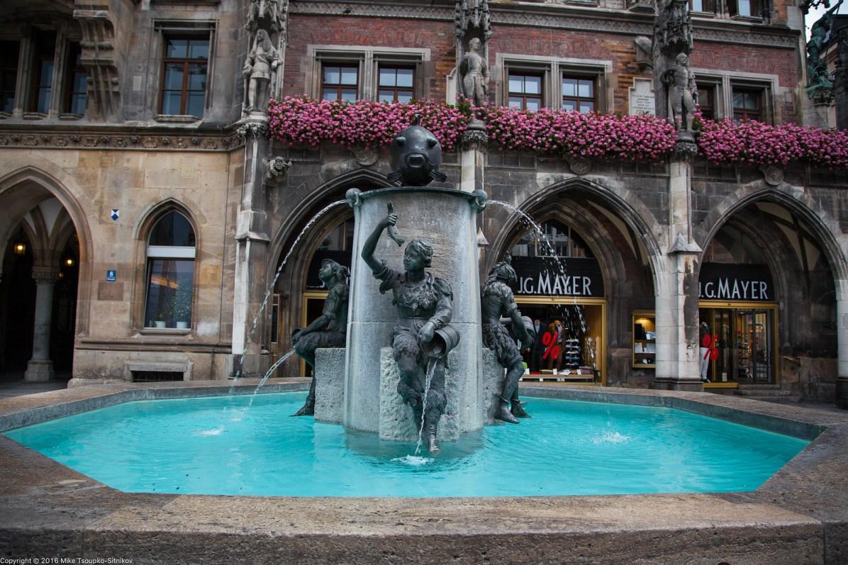 Marienplatz. The Fish Fountain